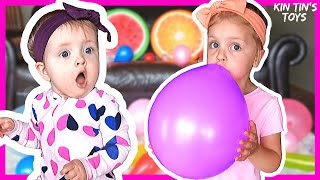 Kin Tin and Baby Play with Balloons | Fun Playtime for Kids | Colorful Balloons