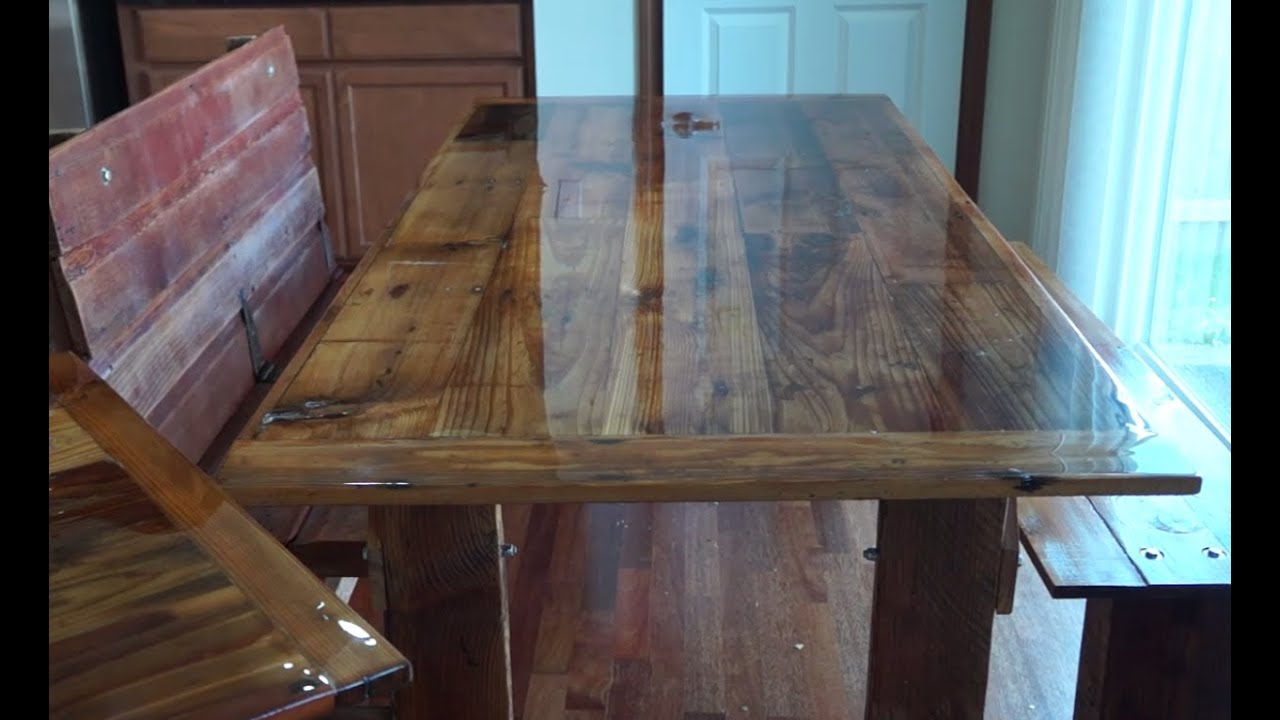 How To Build A Barn Wood Dining Table And Bench YouTube - Salvaged wood table top