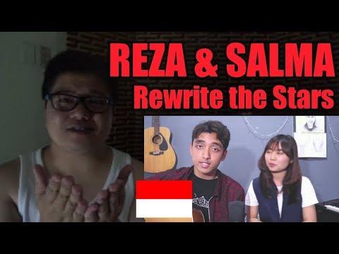 (Filipino Reaction) REZA and SALMA - Rewrite The Stars (OST. The Greatest Showman) COVER