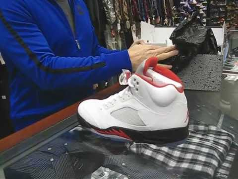free shipping 473df f39e0 Nike Air Jordan Retro 5 White with Black & Fire Red at Street Gear,  Hempstead NY