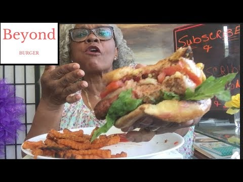 EASY VEGAN BURGER RECIPE | SWEET POTATO FRIES | BEYOND MEAT