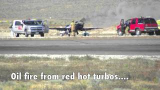 Ultimate Reno Air Race dead-stick landing after blown engine and propeller snaps off!!!
