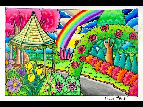 Cara Gradasi Warna Ep 106 Tema Gambar Dan Mewarnai Taman Bunga Youtube