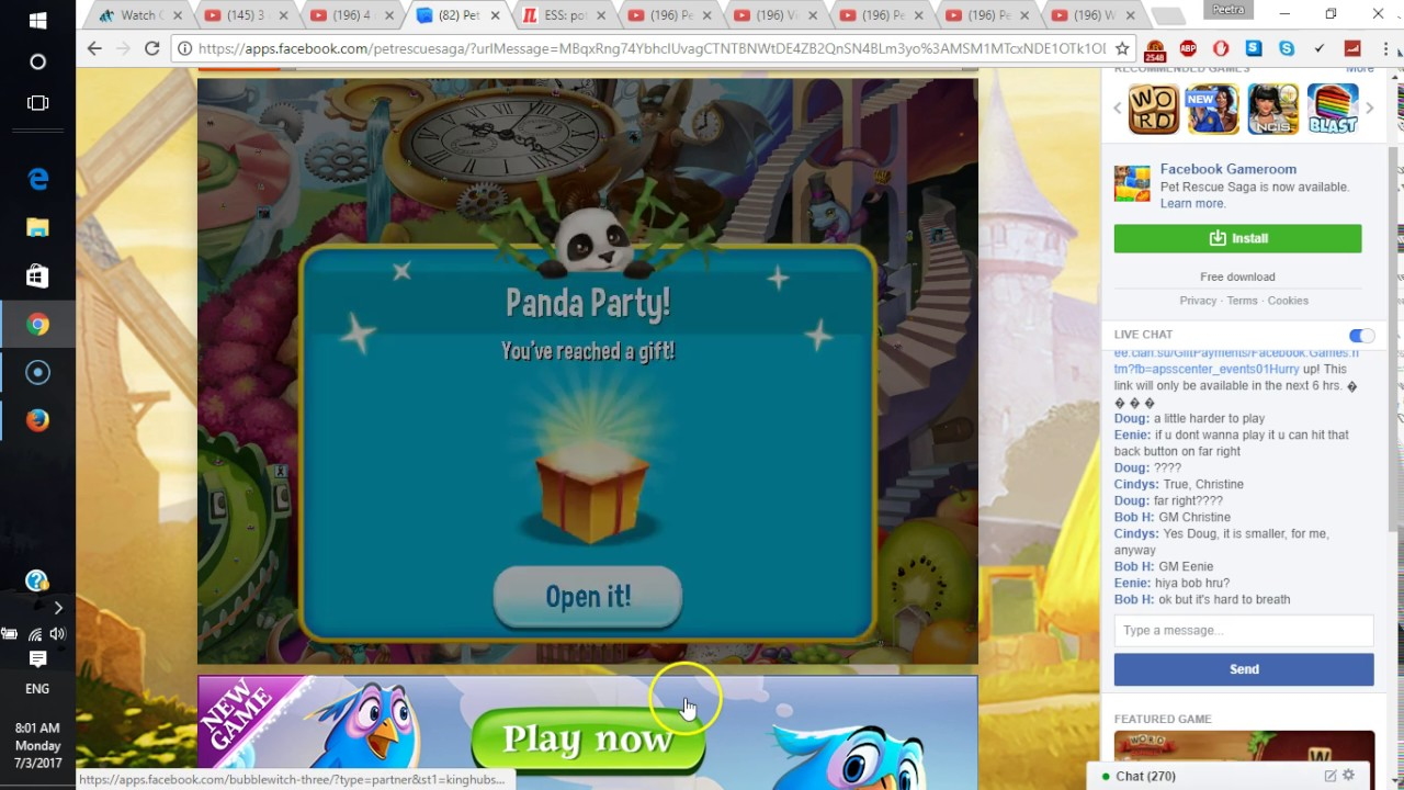 Panda Party ~ Infinite lives at Facebook!!! PET RESCUE SAGA