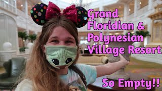 An Evening at Disney's Grand Floridian and Polynesian Village Resorts - So Empty!!