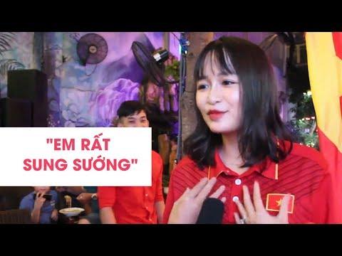 Fan nữ xinh đẹp vỡ òa khi CÔNG PHƯỢNG ghi bàn đưa Việt nam vào tứ kết ASIAD