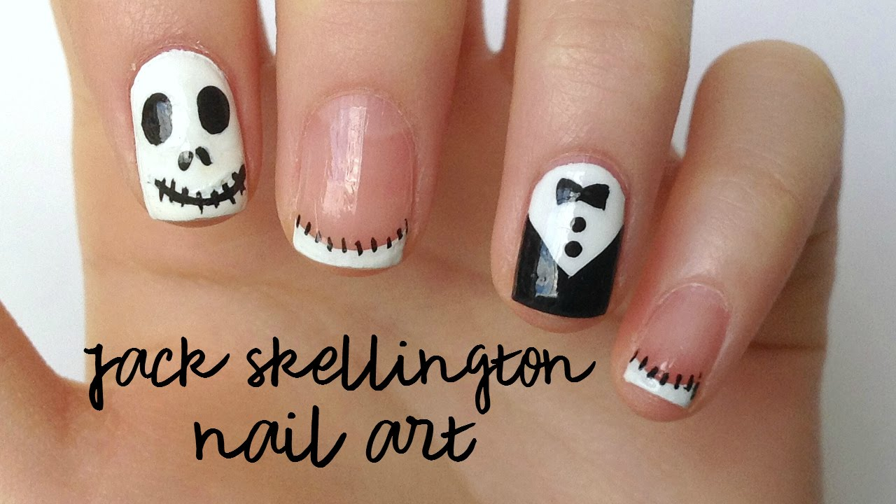 Jack Skellington Nail Art For Halloween Diydazzlenails Youtube