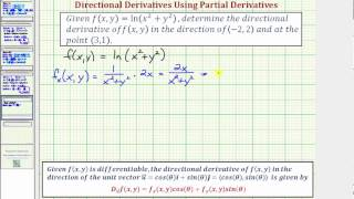 ex 3 find a value of a directional derivative f x y ln x 2 y 2