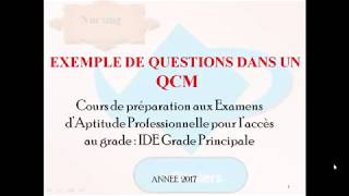 EXEMPLE DE QCM  2 POUR INFIRMIERS