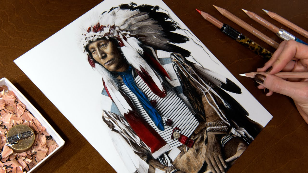 Drawing a Native American (Chief Hollow Horn Bear)