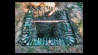 Выгребная яма из бутылок | Все этапы строительства