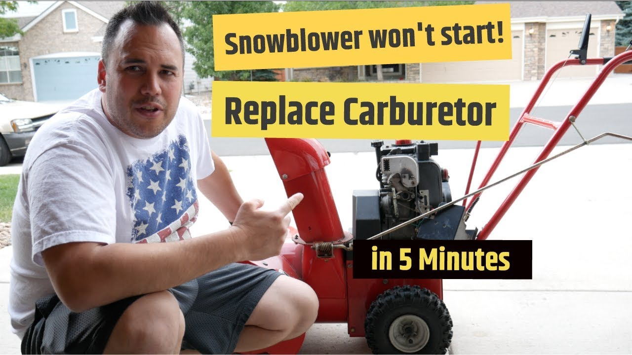 Troy-Bilt Snow Blower won't start   Replace Carb in 5 minutes