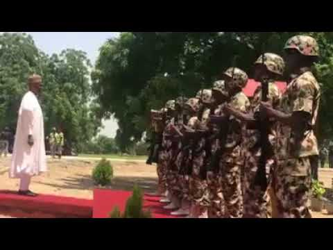 President Muhammadu Buhari On Visit To Military In Borno State