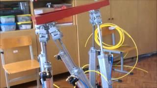 Pneumatic Stewart Platform, пневматический параллельный робот гексапод (платформа Стюарта)