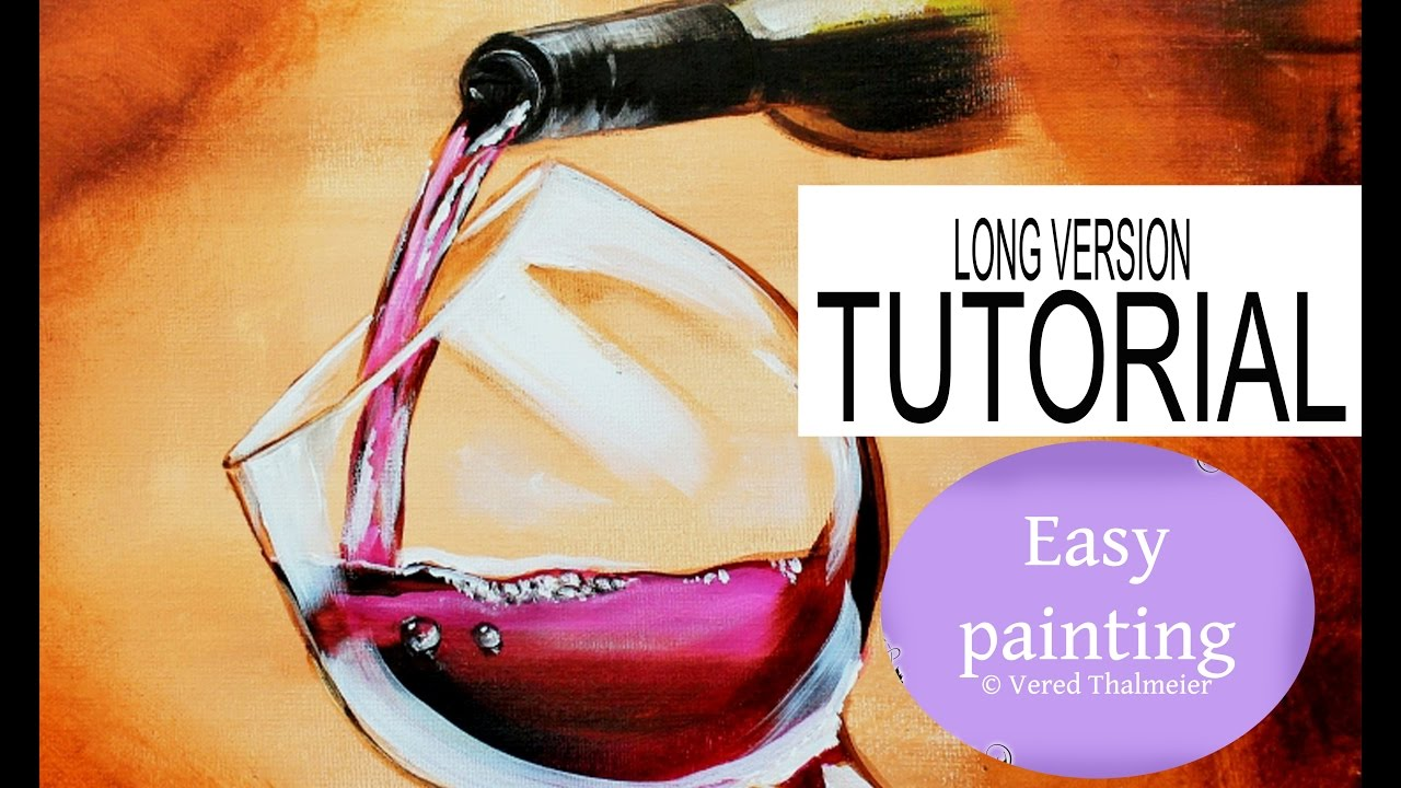 How to paint a wine glass with a bottle and water drops for Wine glass painting tutorial