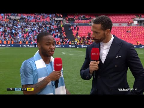 """""""You're bantering me!?"""" Raheem Sterling reacts brilliantly to FA Cup hat-trick stat!"""