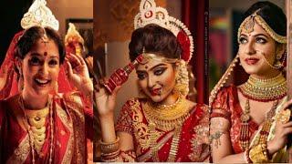 Bangali bridal look// Bangali bridal with golden jewellery
