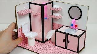 DIY Miniature Dollhouse for Barbie, How to Make a Pink Bathroom