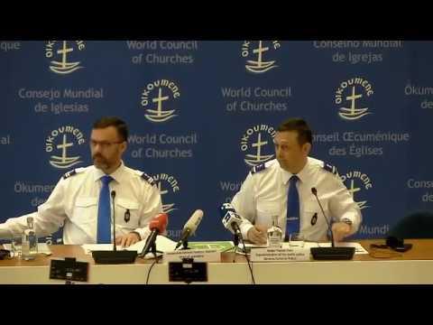 Conférence de presse sur la sécurité lors du pèlerinage œcuménique du pape François au COE