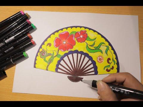 Mĩ thuật 8 Hướng dẫn vẽ trang trí chiếc quạt giấy |TT quạt giấy từ những dụng cụ đơn giản |CenterART