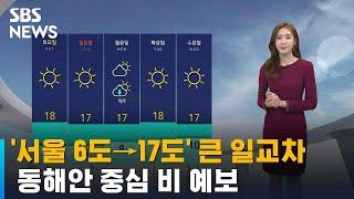 [날씨] '서울 6도→17도' 큰 일교차…동해안 중심 …