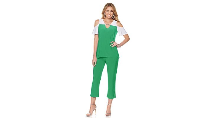 bedab001168 Slinky Brand Colorblock Tunic and Crop Pant Set - YouTube