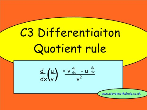 C3 Quotient rule video -Differentiation -A2 - alevelmathshelp