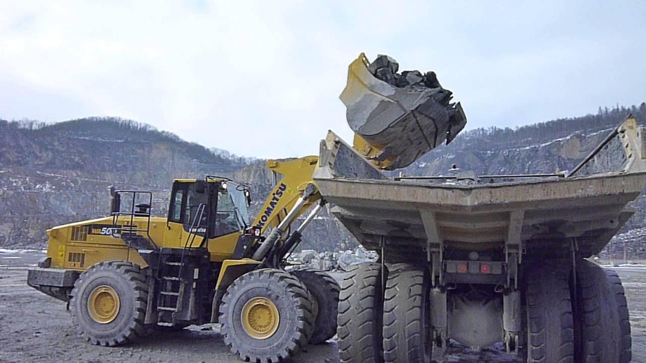 Komatsu wa500 7 loads hd605 dump truck in a quarry youtube
