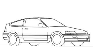 How draw a Honda CRX