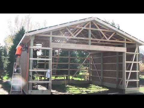 How to build a pole barn building the trusses doovi for Build your own pole barn