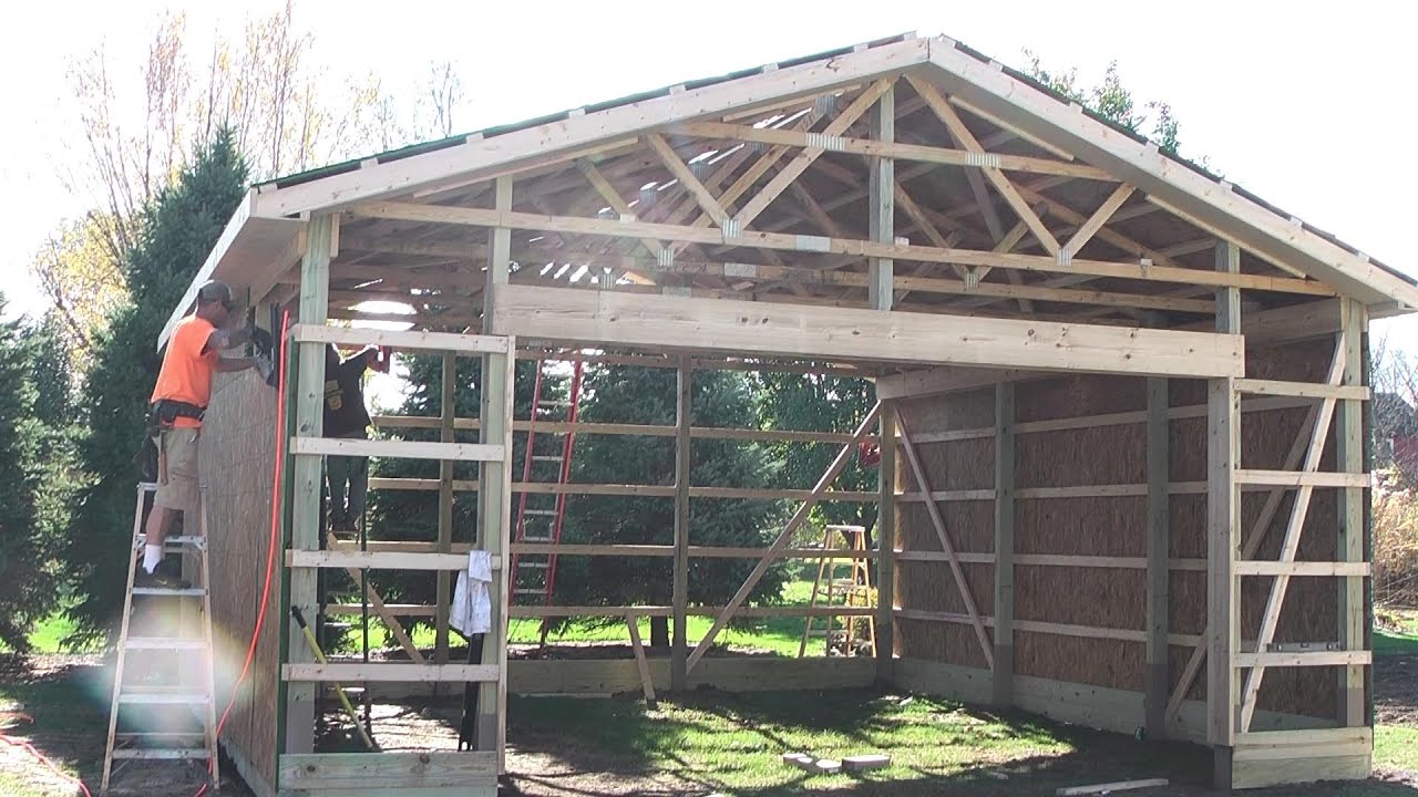 Diy pole barns shed garage construction lp smartside youtube for How to design a pole barn