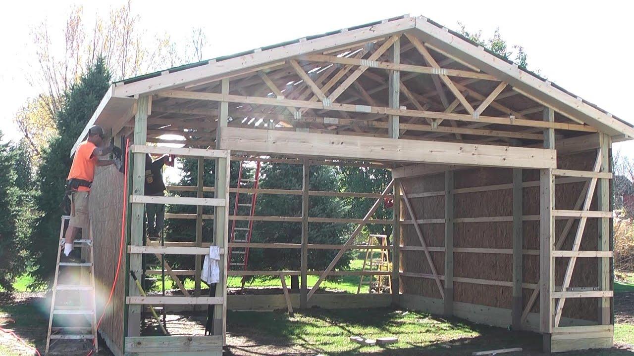 diy pole barns shed garage construction lp smartside [ 1280 x 720 Pixel ]