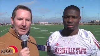 Jacksonville State University RB Troymaine Pope talks with KFGO's Dan Hammer