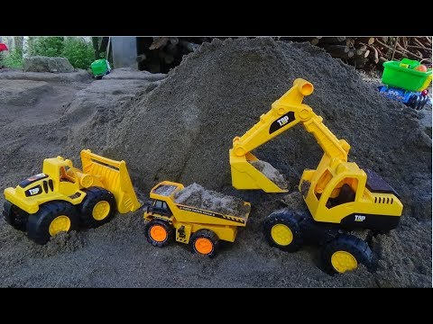 Dump Truck Excavator Working In Construction - Car Toys For Kids - Children Songs