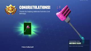 Fortnite battle royal 2nd Happy birthday Rewards and Challenges