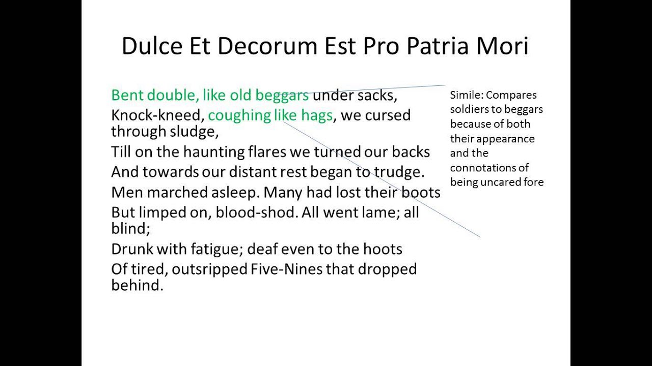 a review of the poem dulce et decorum est This walk whitman quotes shares a similar theme with wilfred owens' poem,  dulce et decorum est pro patria mori the ironically titled poem depicts the.