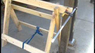 Diy Sawhorse Holding Up A Pergola Post