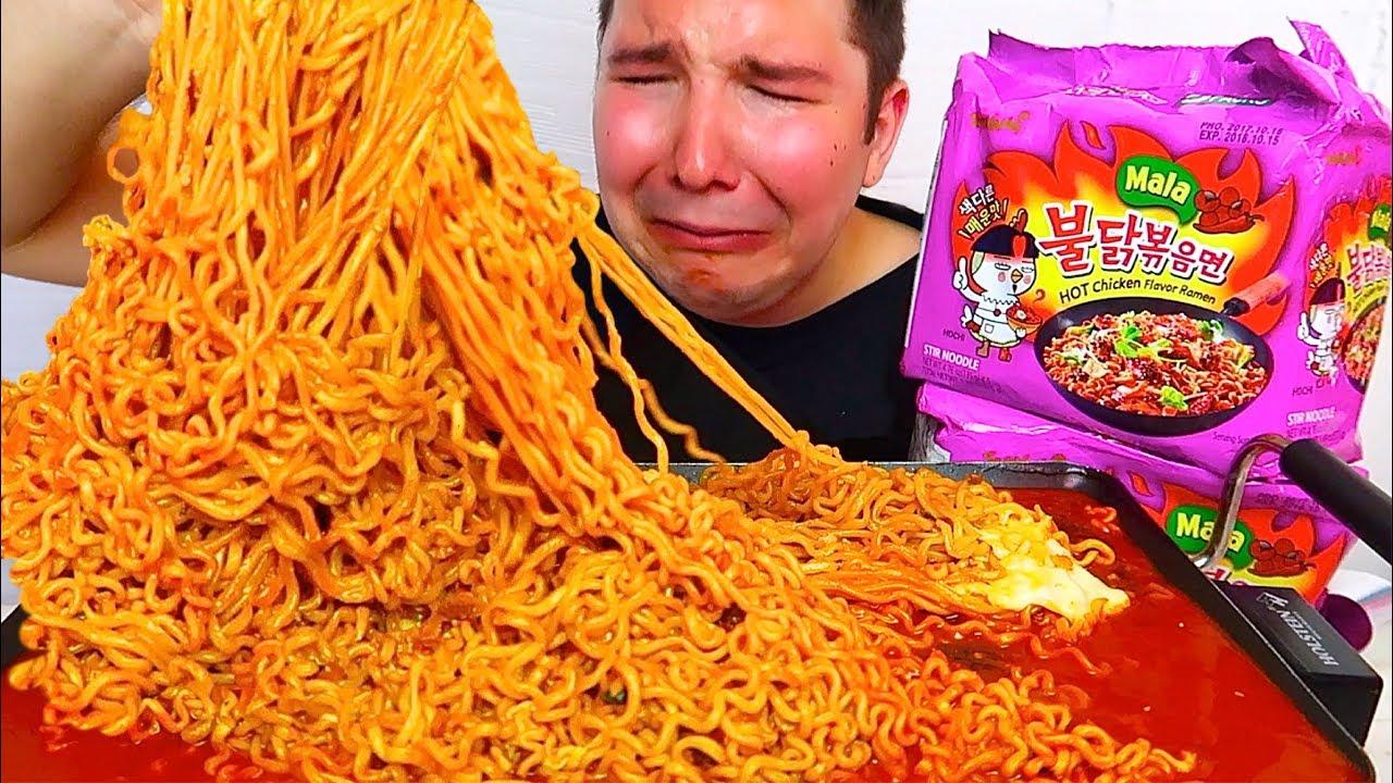 4X Spicy Mala Fire Noodle Challenge 4 182 Calories Mukbang Recipe