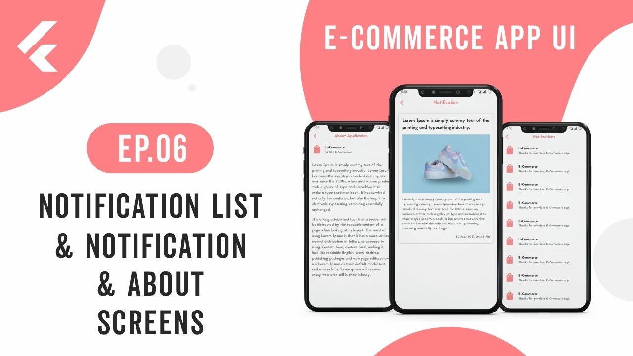 Flutter App UI | E-Commerce App | EP.06 NotificationList,Notification &AboutApp Screens | Speed Code