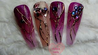 Purple long coffin gel nails