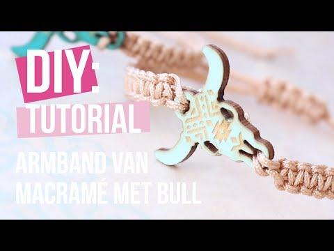 Sieraden maken: Macramé armband met houten bull ♡ DIY