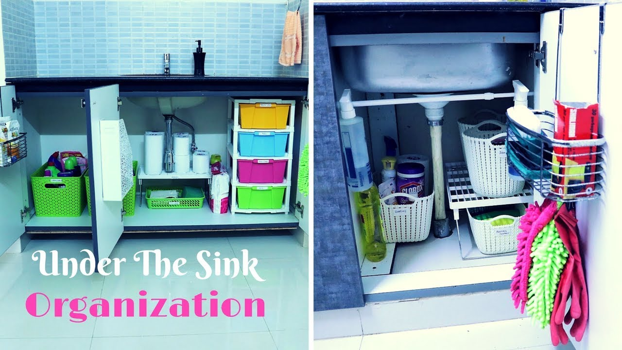 How To Organize Under The Kitchen Sink Cabinet - YouTube