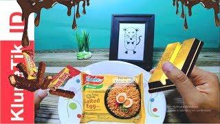 Makan Es Krim, Indomie Salted Egg, Coklat Emas | Eating Real Food KlunaTik Dinner Style | ASMR Sound