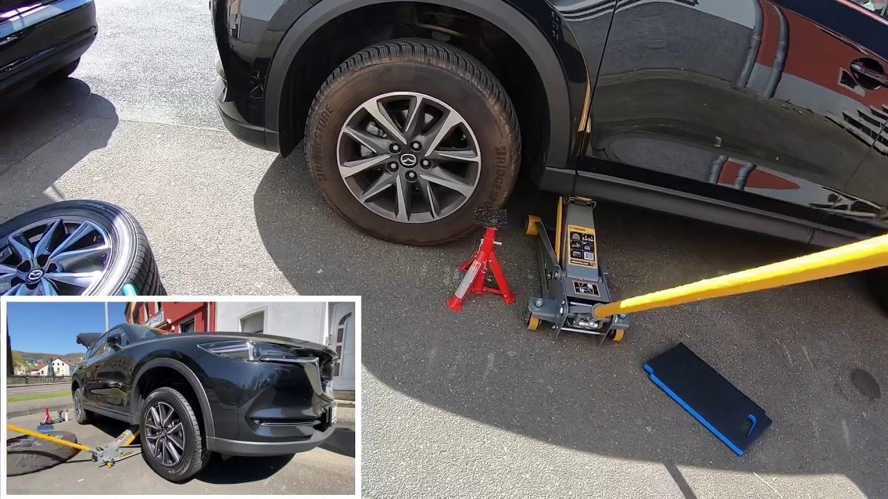Wagenheber ansetzen Auto aufbocken PKW anheben und mit