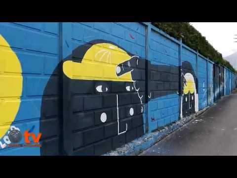 La sicurezza sul lavoro in un murales a Cuorgnè