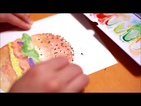 Watercolor Time lapse - Hamburger (Removing liquid mask)