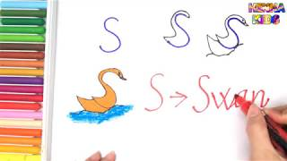 How To Draw and Color a Swan Easy Steps By Step ✅How To Teach Baby To Speak English
