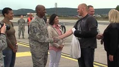 French train 'heroes' arrive at Ramstein Air Base