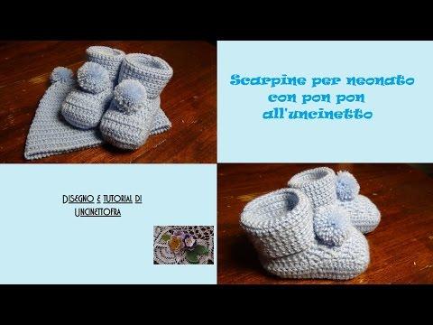scarpine con pon pon per neonato all