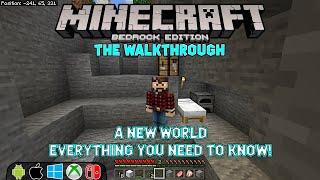 How to start a new Minecraft world. Minecraft Bedrock Walkthrough ep 001